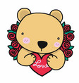cute bear with love red heart and roses cartoon vector image vector image