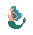 cute funny little mermaid with turquoise hair vector image vector image