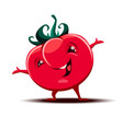 cute little tomato mascot with funny expression vector image