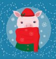 cute pig in a cap and a scarf winter card vector image vector image