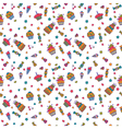 Cute sweet seamless pattern Birthday background vector image