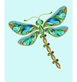 Decorative dragonfly made of precious stones vector image vector image