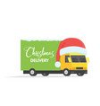 delivery transport truck van with gift box pack vector image vector image
