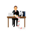 disappointed businessman character looking at long vector image