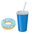donut and a drink in a blue disposable cup vector image