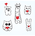 Doodle animals with hearts vector image