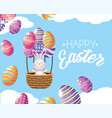 easter rabbit inside basket with eggs air balloons vector image