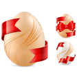 egg with red ribbon vector image vector image