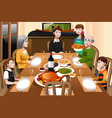 family having a thanksgiving dinner vector image vector image