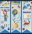 flat subjects and girls on school subject vector image