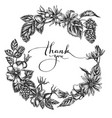 floral wreath black and white dog rose hop vector image vector image