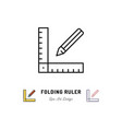 folding ruler icon ruler and pencil thin line art vector image