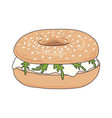 fresh bagel sandwich with cream cheese and rucola vector image vector image