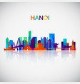 hanoi skyline silhouette in colorful geometric vector image vector image