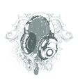 headphones emblem vector image vector image