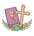holy bible book with cross vector image vector image