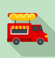 hot dog truck icon flat style vector image vector image