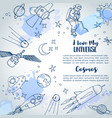 i love my universe slogan space background hand vector image vector image