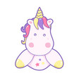 kawaii cute unicorn head face pastel color vector image vector image