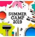 kids summer camp 2019 education creativity art vector image vector image