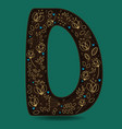 letter d with golden floral decor vector image