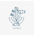 Line flat blue marine icon with nautical vector image vector image