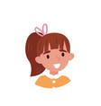 lovely girl with ponytail avatar of cute little vector image vector image