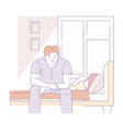 man sit on edge of bed morning waking up bedroom vector image