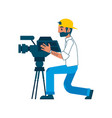 man video reporter setting camera interview vector image