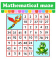 mathematical rectangle maze parrot and frog game vector image