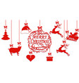 merry christmas santa claus hat deer heart vector image