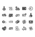 money icons credit card cash and coins vector image