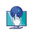 monitor computer with hand and sphere vector image vector image