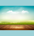 nature background with wooden deck in front of vector image vector image