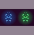 neon icon of blue and green spider vector image vector image