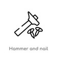 outline hammer and nail icon isolated black vector image vector image