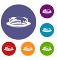 pancakes icons set vector image vector image