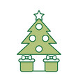 pine tree with gifts vector image vector image