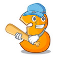 playing baseball character paper cut number three vector image