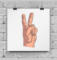 realistic sketch hands - gestures raised hand vector image vector image