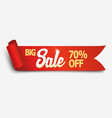 red detailed realistic curved paper sale ribbon vector image vector image