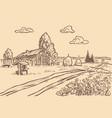 rural agricultural field vintage engraving vector image