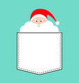 santa claus face with big white beard red hat vector image