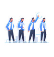 set handsome bearded man character poses in modern vector image