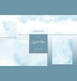 set light blue watercolor stain background vector image