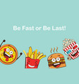 set of funny fast food icons cartoon face food vector image vector image