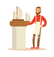 smiling man making model of a sail boat hobby or vector image vector image