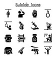 suicide icon set vector image