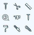 tools icons line style set with measurement vector image