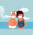 tourists wearing medical face masks on summer vector image